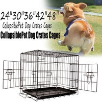 Ship From USA Pet Dog Cage Collapsible Metal Crate Kennel Portable Puppy Cat 24 30 36