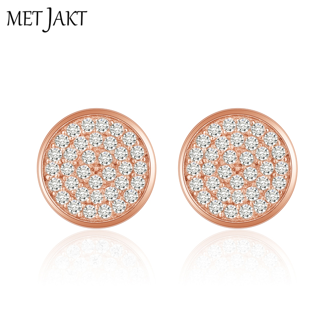 b5c7b4a9c9089 US $17.35 38% OFF|Aliexpress.com : Buy MetJakt Classic Round Zircon Stud  Earrings 14k Rose Gold Plated Solid 925 Sterling Silver Earring for Women  and ...