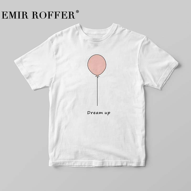 EMIR ROFFER 2018 Harajuku Kawaii Ballon Print T-shirt Female Cotton Women Tshirts Summer Casual White Basic T shirt Femme Top