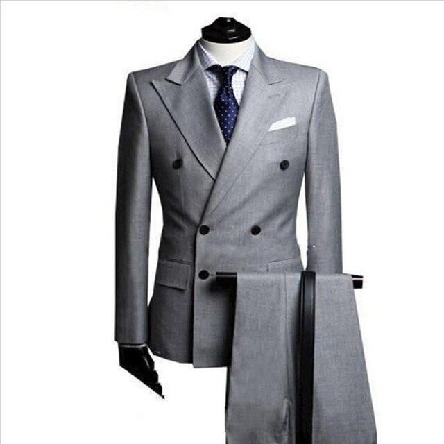 costume homme Double Breasted Light Grey Men Blazer Groom Suit ...