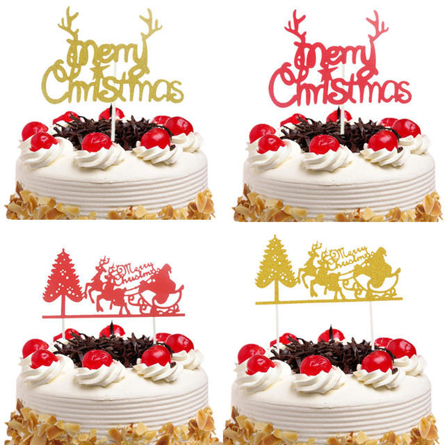 7359c16341e37 Christmas Red Cake Toppers Flags Santa Claus Elk Tree Merry Christmas Cake  Topper Glittler Tree Party Cake Baking Decor Xmas New