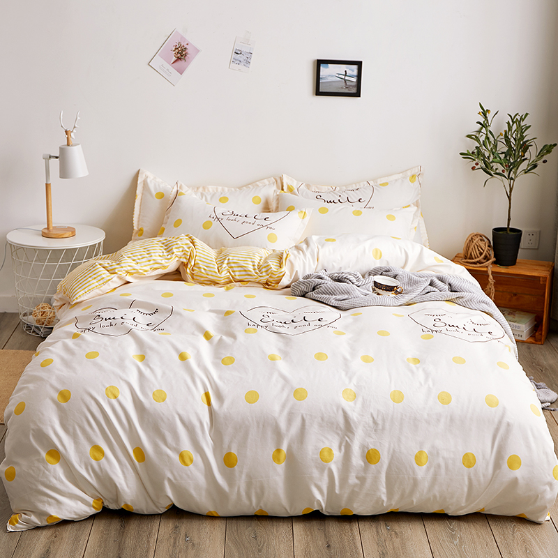 Bed Linen And Bed Sheet Set Love Summer Yellow Wave Point Strip Queen Bedding Set Sea World Kids Bedding