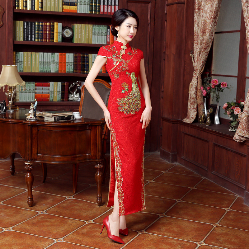 Bride Cheongsam Women Traditional Dress Red Sexy Wedding Qipao Embroidery Chinese Oriental Dresses Vestidos Formales Long Qi Pao