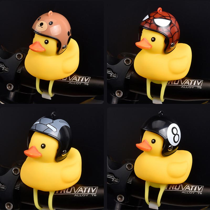 Cute Duck Horn Night Light For Bicycle Bell Bike Moto Riding Light Cycling Accessories Small Yellow Duck Helmet Child DA