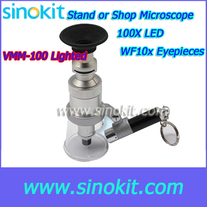 Professional WF10X eyepiece with direct reading reticle Stand or shop Microscope - VMM-100ligted 20x monocular stereo microscope with 20x up right image small size 2x objective and wf10x eyepiece