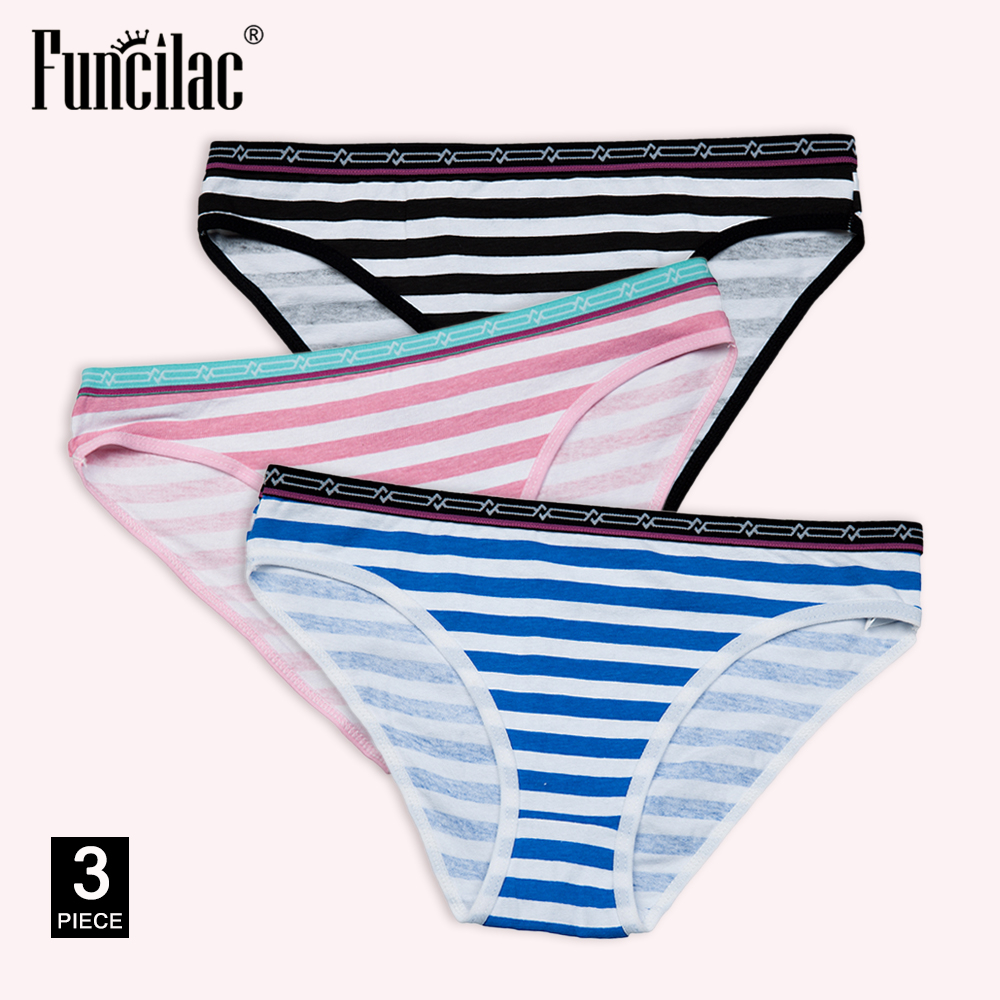 Women's   Panties   Sexy Cotton Crotch Briefs Female Underwear Lingerie Bikini Ladies Knickers Breathable Striped 3 pcs/set FUNCILAC