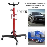 Vertical Telescopic Car Transmission Jack 1100 Lbs 500kg Professional Hydraulic Motor Gearbox Lift Swivel Wheels Lift