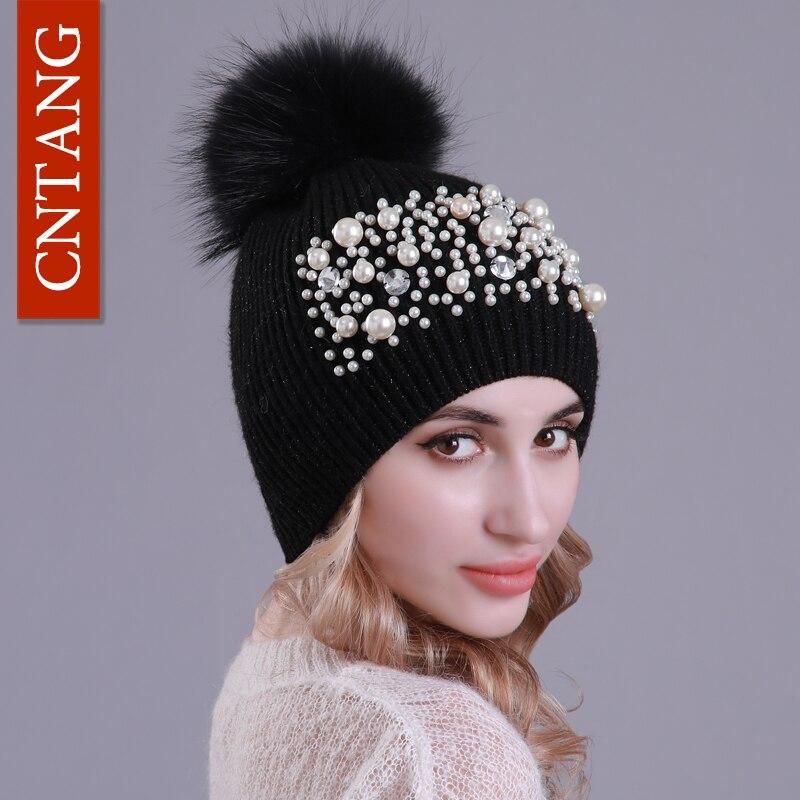 97eac6c12c4f CNTANG Fashion Big Pearl Beanies Autumn Winter Wool Hats For Women Real Raccoon  Fur Pompom Caps