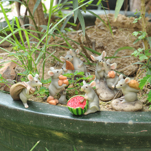 Cute Mouse Elf Statue Animal Figurine Decorations Home Garden Decor Micro Landscape Ornaments Resin Crafts Furnishings