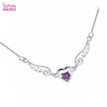 AMORUI romantyczny anioł serce srebrny wisiorek naszyjnik srebrny miłość urok pani naszyjnik biżuteria prezent Angela skrzydła Choker