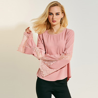 Young17 Women Blouse Slim Long Sleeve O Neck Flare Sleeve 2018 Sweet Girl Style Lace Spring