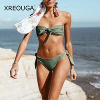 XREOUGA Solid Strappy Bikini String Swimsuits Candy Color Bandage Bathing Suit Pleated Monokini Bust Bowknot Tube