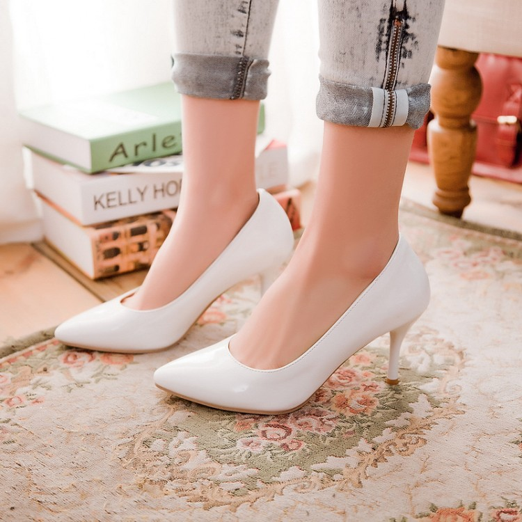 Size 30-47 Solid Women High Heels Spring Autumn Pointed Toe Thin Pumps Slip On Wedding Shoes