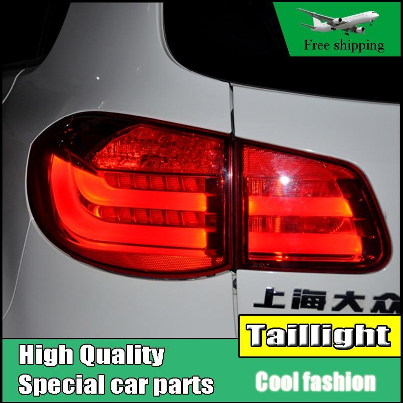 Чехол стайлинга автомобилей для Volkswagen VW тигуан 2010 2011 2012 задние фонари из светодиодов задний фонарь заднего лампы ДРЛ+Тормозная+сигнал авто аксессуары