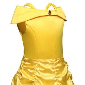 Image 5 - Schoonheid En Het Beest Belle Princess Dress Belle Cosplay Kostuum Kids Jurk Voor Meisjes Party Verjaardag Magische Stok Meisjes Clothings