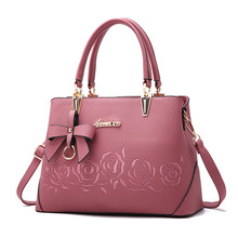Flower Rose Printing Handbag For Women Pu Leather Bowknot Crossbody Bag High Quality Fake Designer