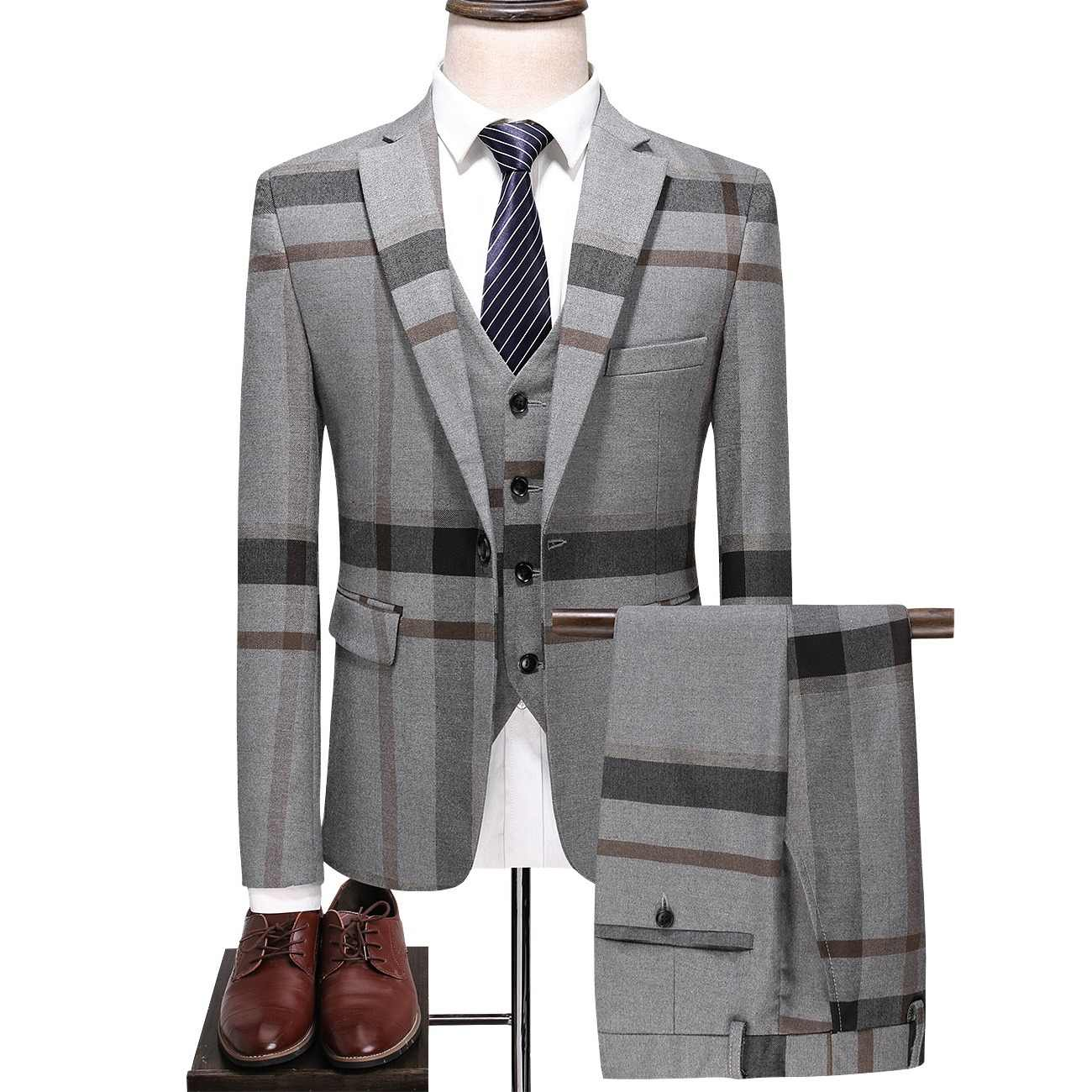 e40a8e0e147 JZ CHIEF 3 piece Suits Mens Wedding Suits Single Breasted Plaid Casual  Business Fashion High Quality