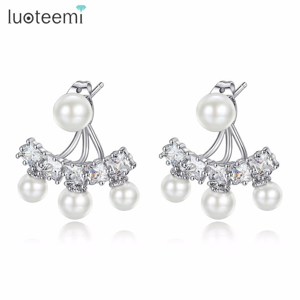 b97c349bf Detail Feedback Questions about LUOTEEMI Cubic Zirconia Double Ways Imitation  Pearl Drop Earrings for Women Bridal Sea Shell Pearl Earrings Wedding  Jewelry ...