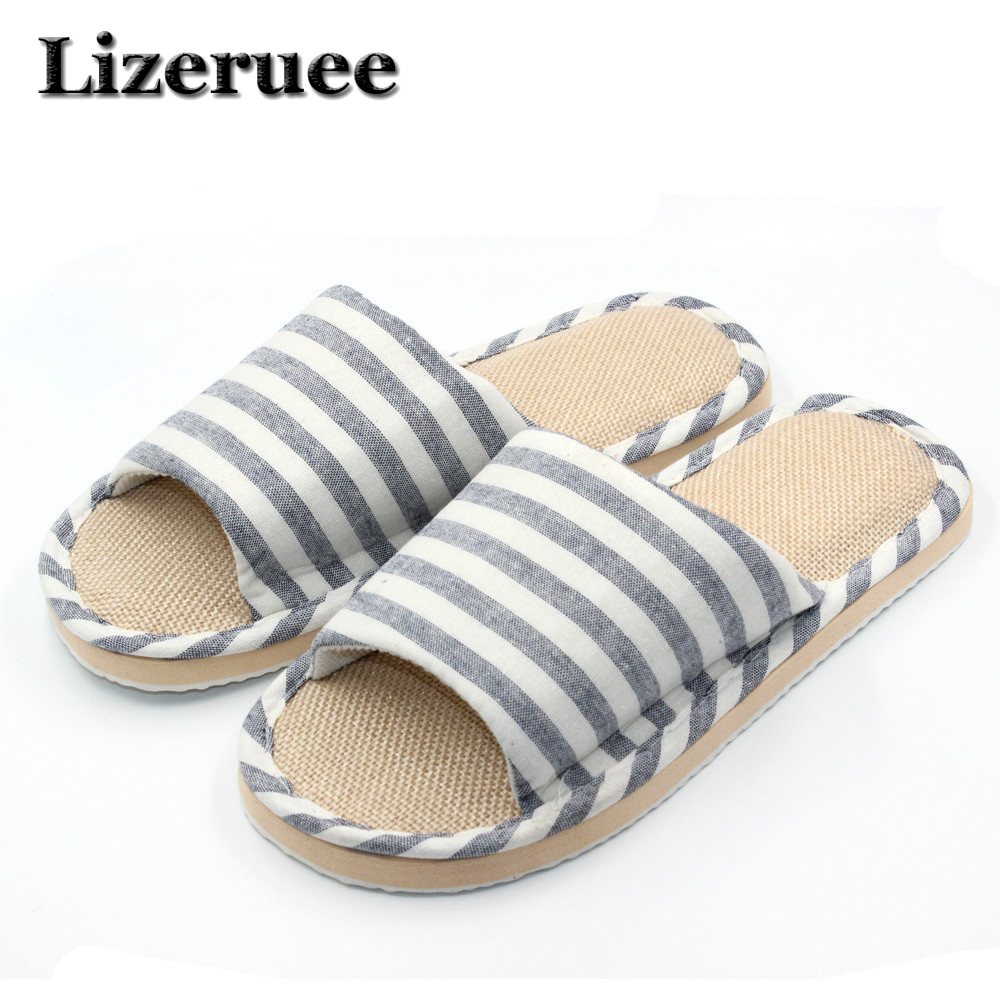 New Fashion Beach Shoes Summer Linen Men Slippers Brand Flat Non-Slip Stripe Hemp Basic Slides Home Sandals Man Charm HS210 mashimaro new arrival men s linen slippers cotton fabric hemp slippers beach non slip indoor slippers men s fashion slippe