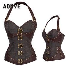 AONVE Steampunk Korsett Braun Gothic Mieder Sexy Dessous PU Leder Overbust Corsage Gürtel Modellierung Gurt Korsetts Und Bustiers
