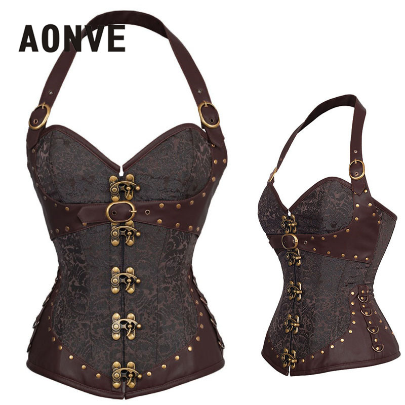 AONVE Steampunk   Corset   Brown Gothic Bodice Sexy Lingerie PU Leather Overbust Corsage Belt Modeling Strap   Corsets   And   Bustiers