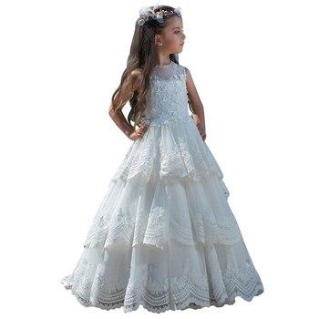 fancy little girls dresses vestido menina white flower girls dresses with train kids prom ball gown first communion dresses 2019