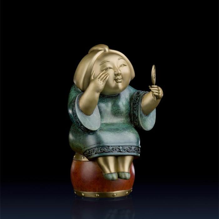 Souvenirs ERGONG bronze statue décoration art RÉTRO bijoux creative Ameublement outils léger de mariage Décoration En Laiton