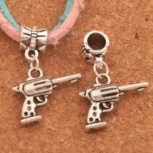 Revolver Gun Big Hole Beads 26.5x20.2mm 100PCS Antique Silver Dangle Fit European Bracelets Jewelry DIY B1628 frog charm beads 30 8x15 6mm 100pcs antique silver dangle fit european bracelets jewelry diy b167