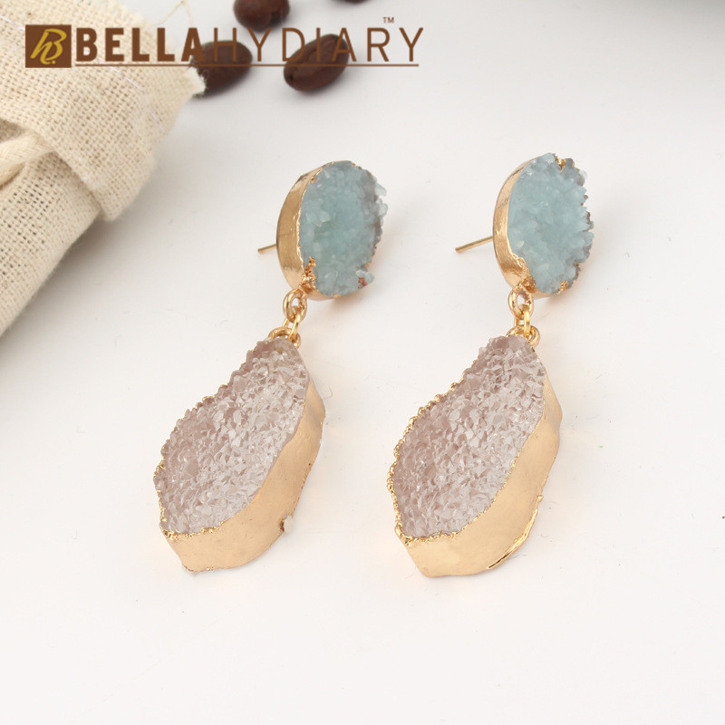 Korean Fancy Chic Stone Druzy Resin Earrings Long Drop Earrings For Women Jewelry Statement Gifts For Women Accessories Brinco 4