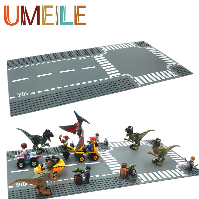 City Small Building Blocks Street Road Baseplate Street Lamp Brick Junctions Toys Plate Compatible with Legoe christmas Gifts