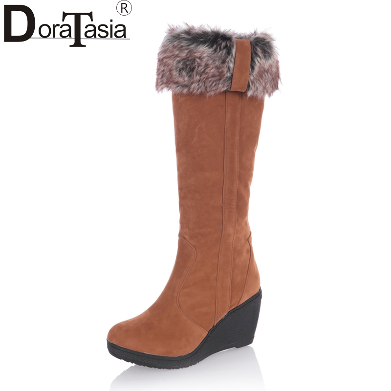 DoraTasia 2017 Large Size 34-43 Fashion Women Snow Boots Warm Fur Shoes Wedge High Heel Shoes Platform Knee High Boots Winter