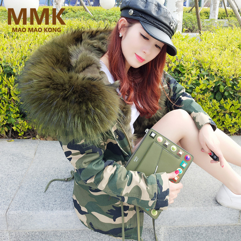 2018 women winter parka military camouflage large raccoon fur collar hooded coat outwear real fox fur lining winter jacket brand
