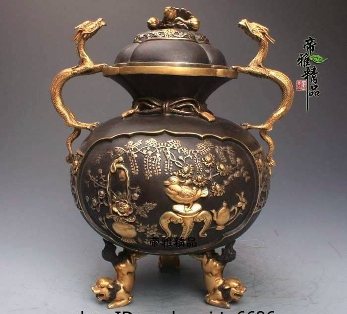 China Palace Copper 24K Gold Gild Dragon Foo Dog Lion Bird Incense Burner CenserChina Palace Copper 24K Gold Gild Dragon Foo Dog Lion Bird Incense Burner Censer