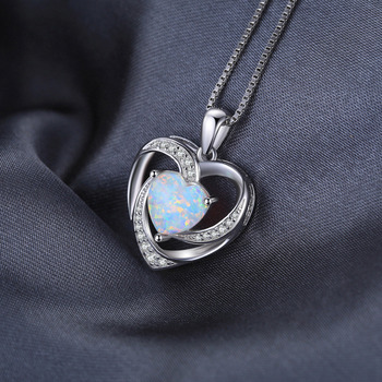 Heart Created Opal Pendant Sterling Silver Gemstone Statement Necklace  2
