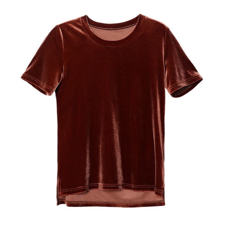 Women T Shirt Short Sleeve Crushed Velvet Summer Tops And T Shirts O-Neck Femme Manche Courte Brand Casual Tops Tees Blusas