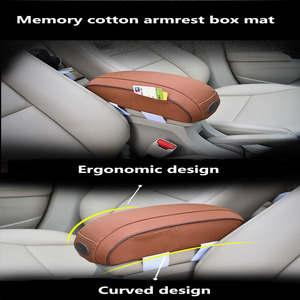 Image 2 - Universal Car Armrest Box Hand Supports Cover Leather Memory Cotton Auto Center Console  Increase Padding Cushion Card Storage