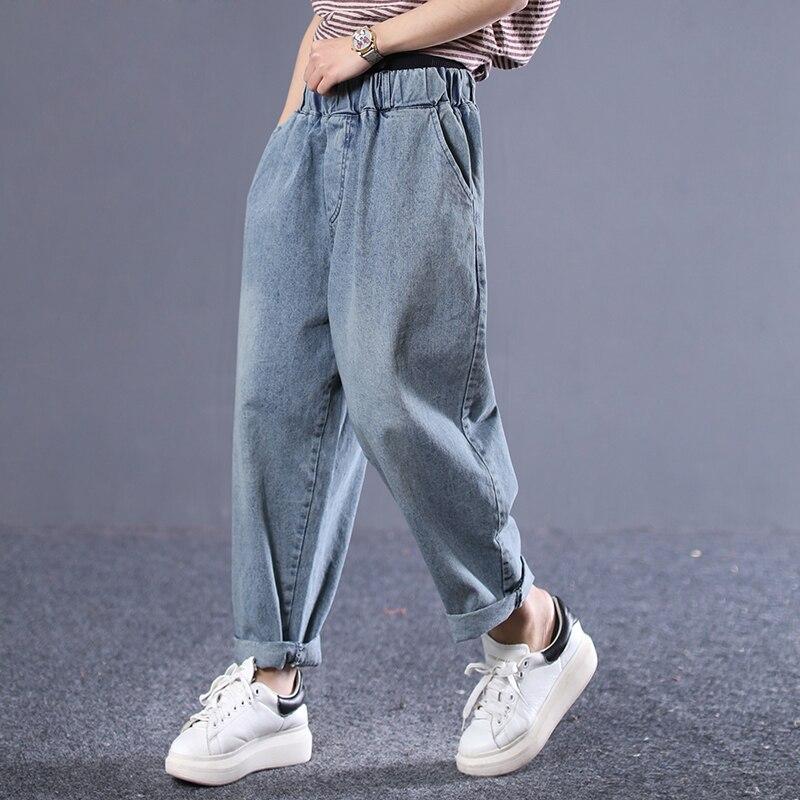 EWQ 2019 Spring Summer New Pattern Elastic Patchwork Denim Pockets Streetwear Pants Women Jeans Fashion