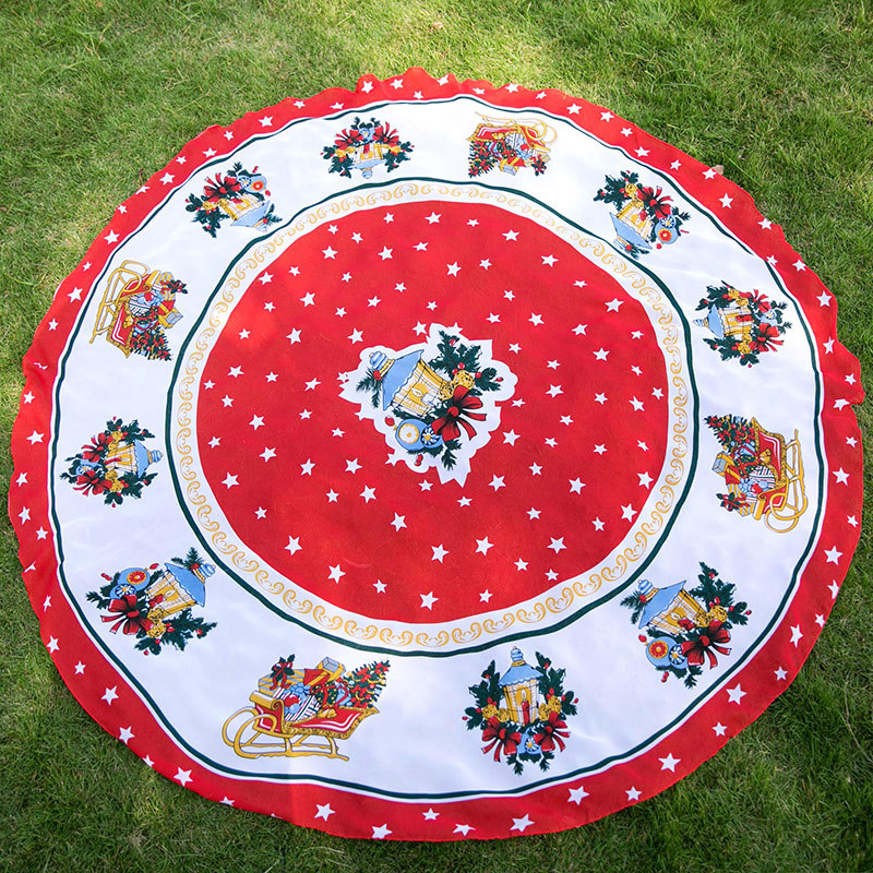 Cartoon Christmas Printed Silk Scarves Round Beach Blanket Yoga Beach Mat Shawl Home Docoration Chiffon Polyester Blanket