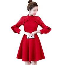 Autumn Dress Women Red Black Lace Ruffles Decor OL Korean Fashion Vestido Girl Outfit Big Yards  New Design Plus Size L -5XL