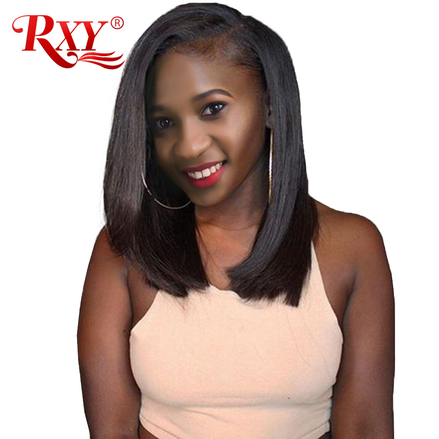 RXY Short Bob Wig Brazilian Remy Short Human Hair Wigs For Black Women 150% 12x6 Pre Plucked Bob Lace Front Human Hair Wigs