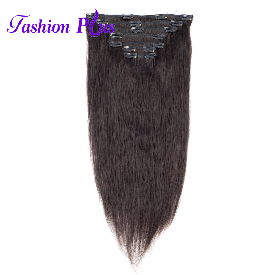 Clip In Human Hair Extensions Machine Made Remy Hair Full Head 7pcs/set Natural Hair 120g 18-22'' Clip In Hair Extensions(China)