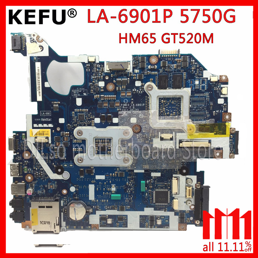 KEFU P5WE0 LA-6901P motherboard for acer 5750 5750G 5755 5755G laptop motherboard HM65 GT520M/610M original Test motherboard цена