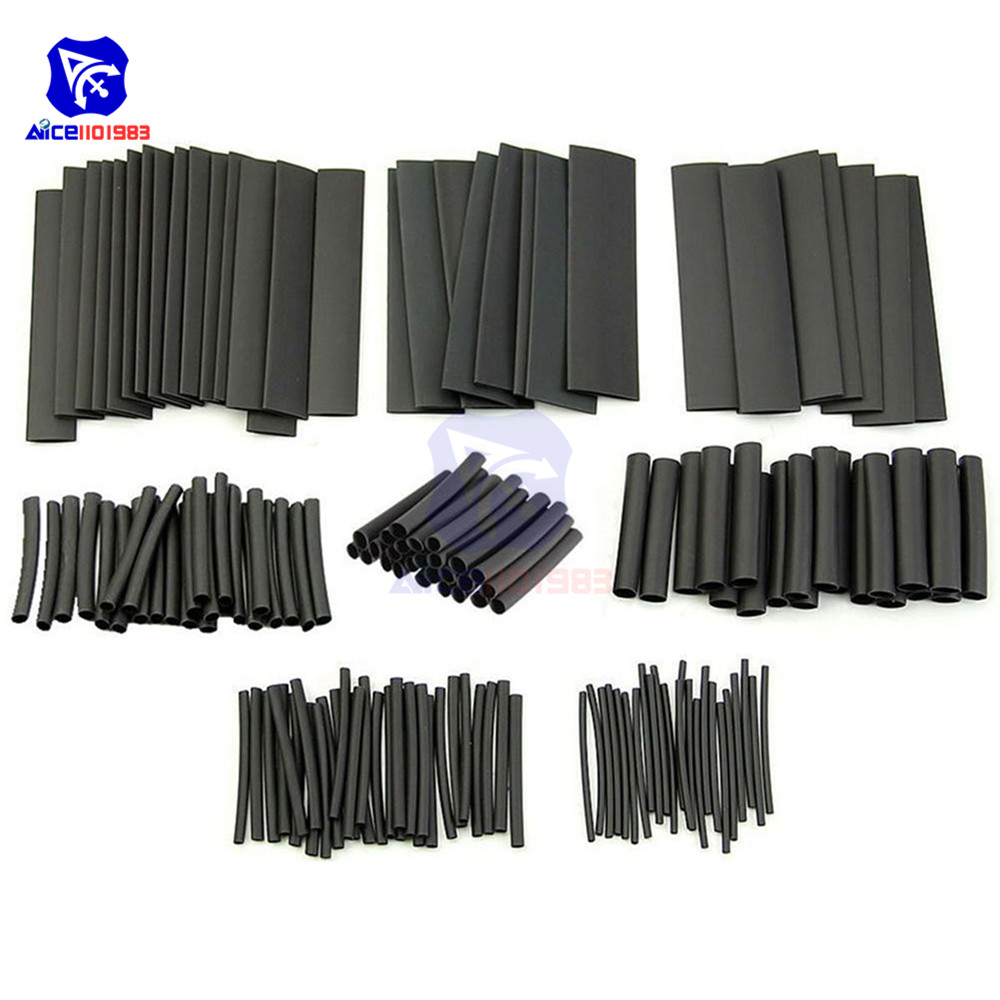1set 127PCS Polyolefin Car Electrical Cable Tube Kits Heat Shrink Tube Tubing Sleeve Wrap Wire Assorted 7 Sizes Black