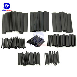 1set 127PCS Polyolefin Car Electrical Cable Tube kits Heat Shrink Tube Tubing Sleeve Wrap Wire Assorted 7 Sizes Black