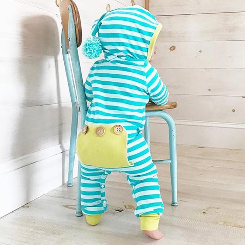 Newborn Baby Boy Girl Clothes Striped Hooded Romper Infant Bebes Cotton PP Pocket Playsuit One Pieces Tracksuit Outfit
