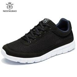 NIDENGBAO الصيف الرجال حذاء كاجوال تنفس شبكة الدانتيل يصل الشقق أحذية خفيفة الوزن مريحة الأسود أحذية مشي الرجال رياضية