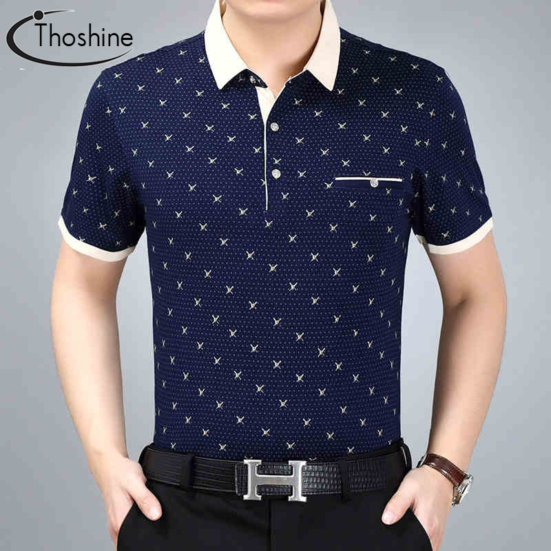 Thoshine Brand Summer Men Printed   Polo   Shirt Male Fashion   Polo   Shirts Superior Cotton Camisa Turn-Down Collar Tops Plus Size