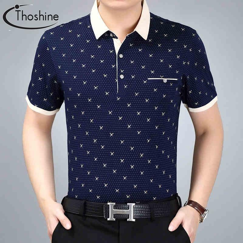 Thoshine Marke Sommer Männer Gedruckt Polo-shirt Männlichen Mode Polo Shirts Überlegene Baumwolle Camisa Drehen-unten Kragen Tops Plus Größe Polo