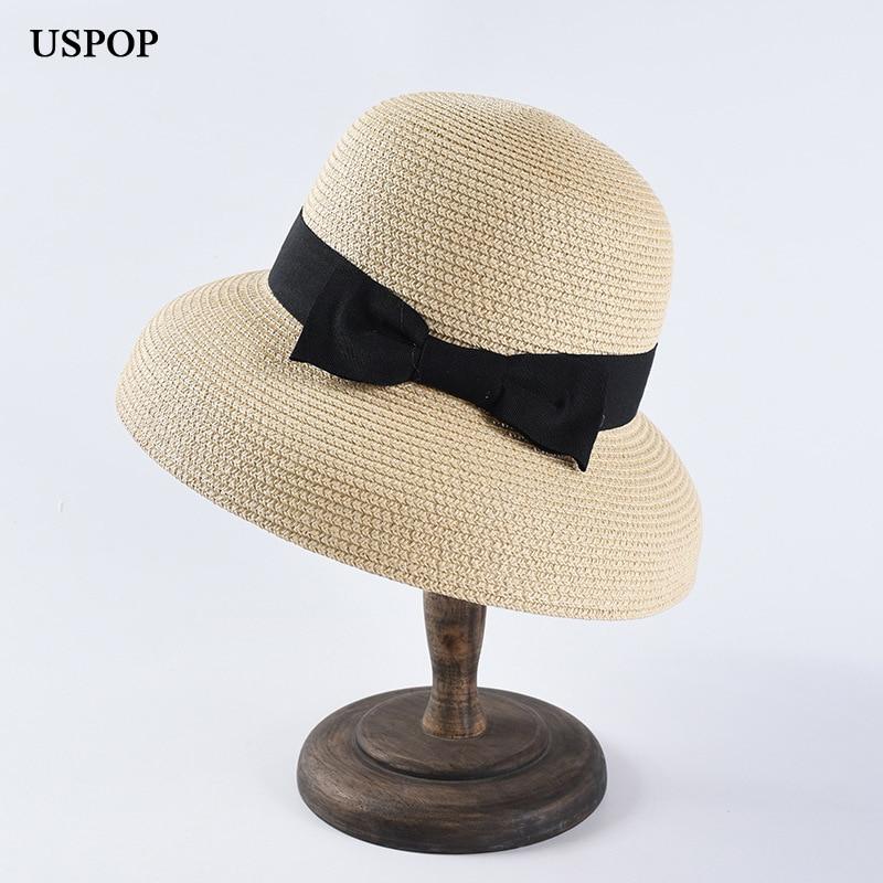 USPOP 2019 Newest Women Sun Hats Fashion Bow Straw Hats Casual Summer Wide Brim Drooping Beach Hat Female Summer Hat