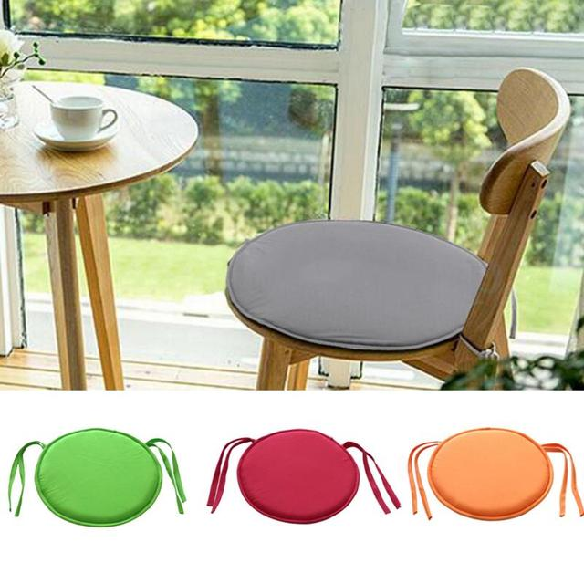New Brief Solid Indoor Dining Garden Patio Home Office Kitchen Round Chair Seat Pads Cushion with Four Ties 30cm x 30cm